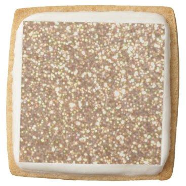 Beach Themed Bright Copper Glitter Sparkles Square Shortbread Cookie