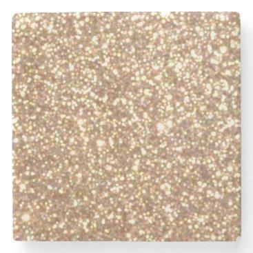 Beach Themed Bright Copper Glitter Sparkles Stone Coaster