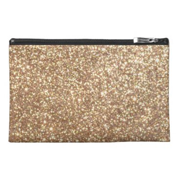 Beach Themed Bright Copper Glitter Sparkles Travel Accessory Bag