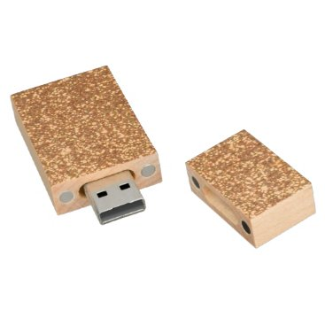 Beach Themed Bright Copper Glitter Sparkles Wood USB Flash Drive