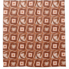 Bright Copper Hearts and Squares Shower Curtain: $83.07