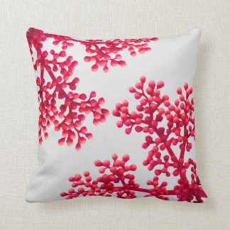Bright Coral Flower Buds Throw Pillow