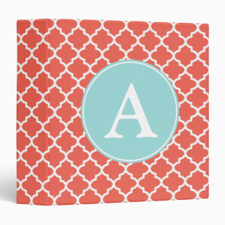 Bright Coral Monogram Binder