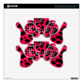BRIGHT CORAL PINK HOT BLACK ANIMAL PRINT PATTERN D PS3 CONTROLLER DECAL