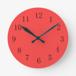 Bright Coral Red Kitchen Wall Clock at Zazzle