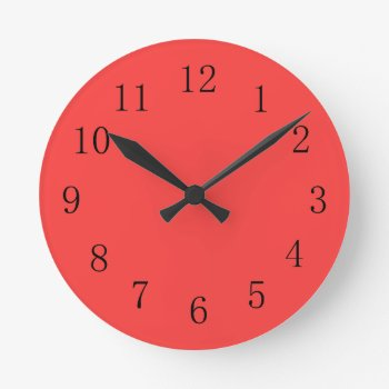 Bright Coral Red Kitchen Wall Clock by Red_Clocks at Zazzle