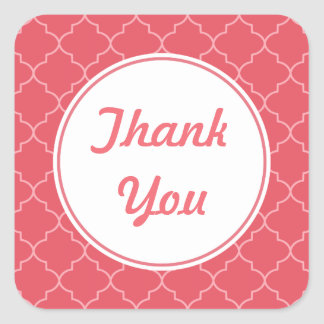 Bright Coral Thank You Stickers