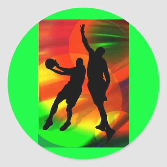 Bright Court Lights and Basketball Duo Classic Round Sticker
