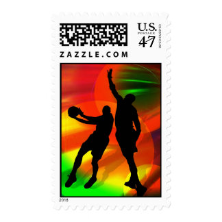 Bright Court Lights and Basketball Duo Postage
