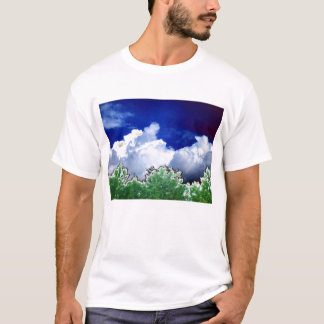 Bright Cumulus and Pine With Black Bird In The Cen T-Shirt