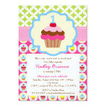 "Bright Cupcake 1st Birthday Party Invitation 5"" X 7"" Invitation Card"