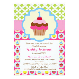Cupcake birthday invitations announcements zazzle bright cupcake 1st birthday party invitation filmwisefo