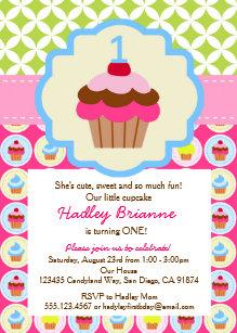 Cupcake birthday invitations zazzle bright cupcake 1st birthday party invitation filmwisefo