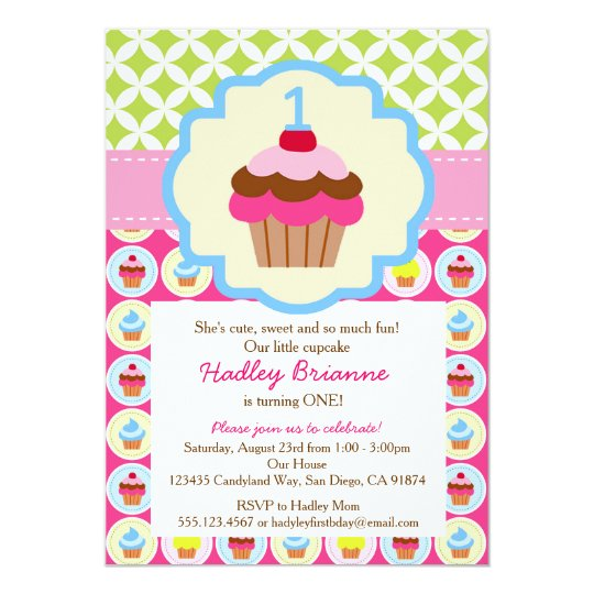 bright cupcake 1st birthday party invitation zazzle com