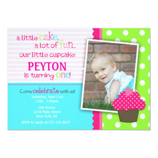 Bright Cupcake 1st Birthday Party Invitation