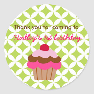 Bright Cupcake Birthday Party favor stickers tag
