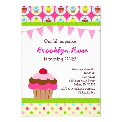 Bright Cupcake Invitations - First Birthday Party