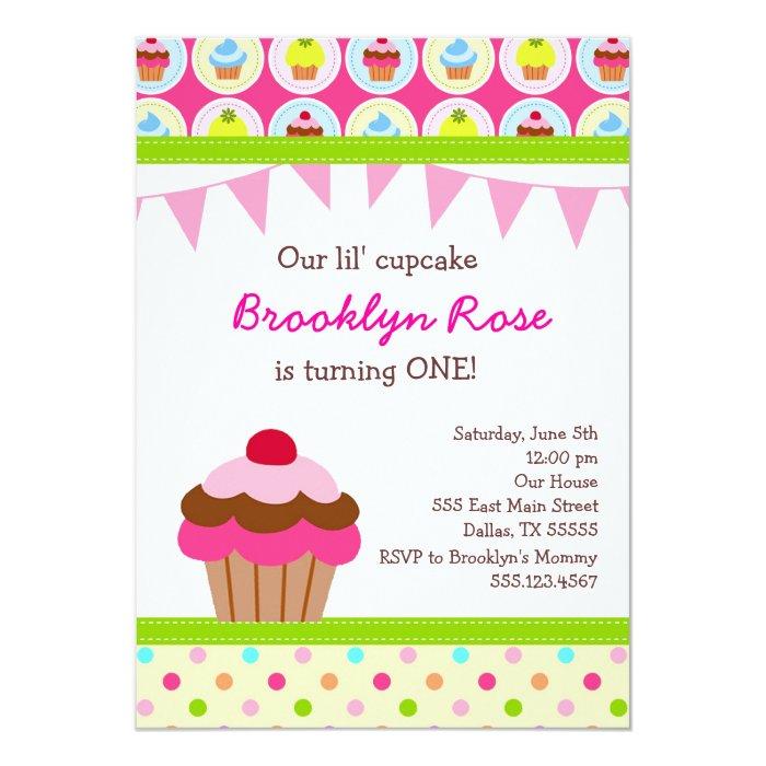 bright cupcake invitations first birthday party zazzle