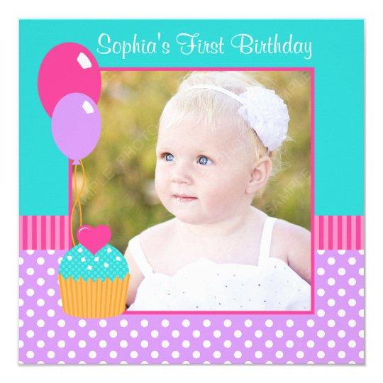 A Cupcake Themed 1st Birthday Party With Paisley And Polka: Bright Cupcake Polka Dot Girl 1st Birthday Photo Card