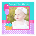 Bright Cupcake Polka Dot Girl 1st Birthday Photo 5.25x5.25 Square Paper Invitation Card