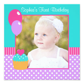 "Bright Cupcake Polka Dot Girl 1st Birthday Photo 5.25"" Square Invitation Card"