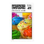 Bright cupcake postage stamp