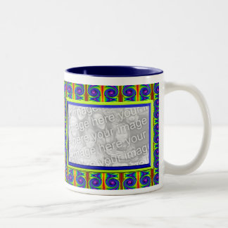 bright curles colorful photo frame coffee mugs
