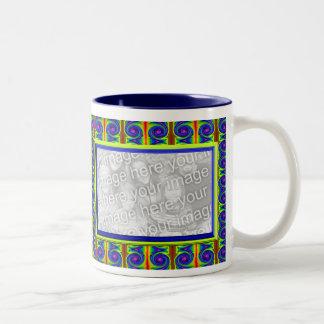bright curles colorful photo frame Two-Tone coffee mug