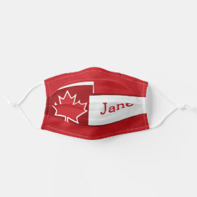 Bright Customizable Name Canada Maple Leaf Cloth Face Mask
