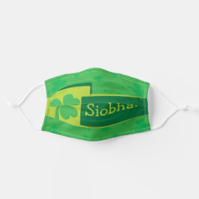Bright Customizable Name Irish Shamrock Cloth Face Mask
