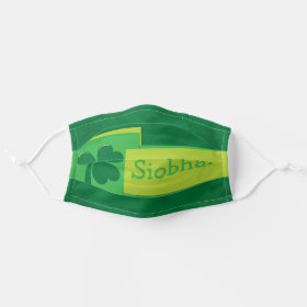 Bright Customisable Name Shamrock Cloth Face Mask
