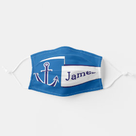 Bright Customizable Name Nautical Boat Anchor Cloth Face Mask