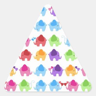 bright cute baby elephant design triangle sticker