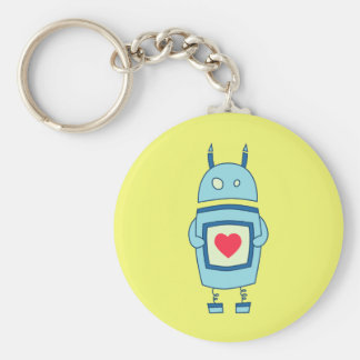 Bright Cute Clumsy Robot With Heart Keychain