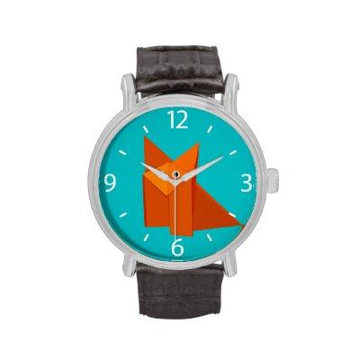 Bright Cute Origami Fox Wristwatches