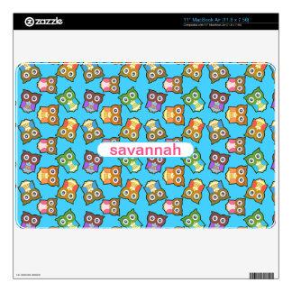 Bright Cute Owls Personalized MacBook Air Skin