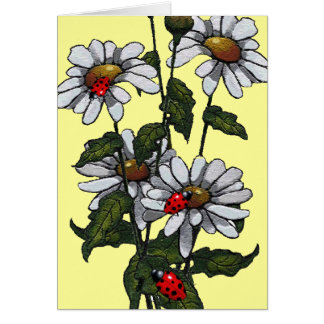 Bright Daisies and Ladybugs: Original Art Card