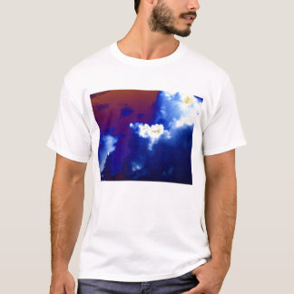 Bright&Dark Blue Cumulus congestus and Red Sky by T-Shirt