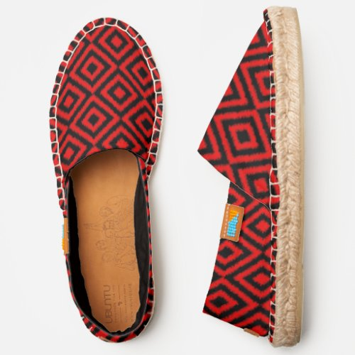 Bright Dark Red And Black African Style Ikat Art Espadrilles