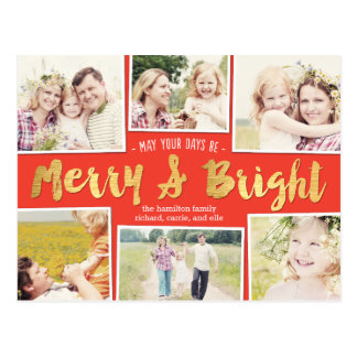 Bright Days Editable Color Collage Holiday Card Postcard