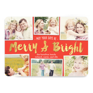 Bright Days Editable Color Collage Holiday Cards