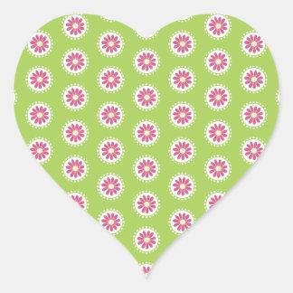 Bright Days Pink and Green Florals Heart Sticker