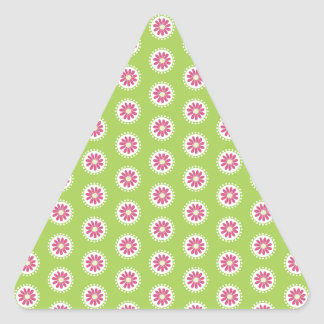 Bright Days Pink and Green Florals Triangle Sticker