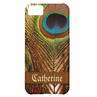 Bright decorative peacock feather case for iPhone 5C