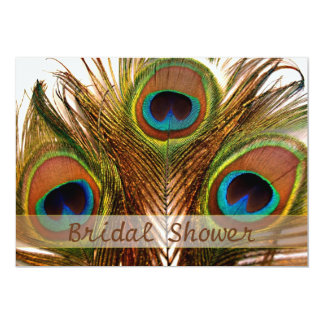 Bright decorative peacock feathers Bridal Shower Card