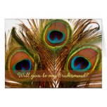 Bright decorative peacock feathers Bridesmaid card