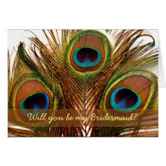 Bright decorative peacock feathers Bridesmaid card