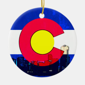Bright Denver Colorado flag skyline ornament