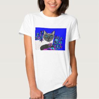 bright detailed handpainted cat shirt