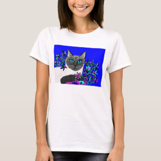 bright detailed handpainted cat shirt